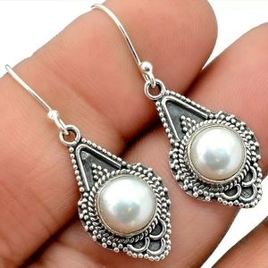 Vintage - Pearl Sterling Silver Handmade Earrings